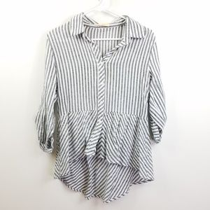 Love Notes Ruffle Hi-Low Striped Sleeve Blouse L